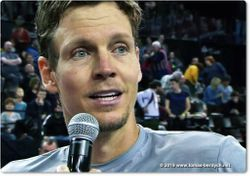 Tomas Berdych is interviewed on court by Marc Maury