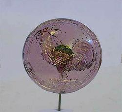 Rooster hatpin - lavender, pale iridescence