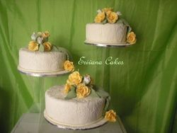 Yellow and Ivory Wedding Cake (W032)