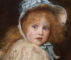 Millais, Little Miss Nuffett, detail, New Haven, MCBA