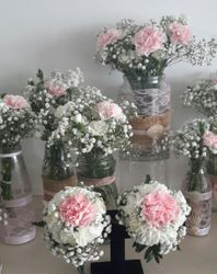 Pink and White table Arrangements