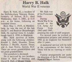 Halk, Harry B. 2001