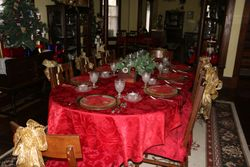 The dining room table ready for a feast
