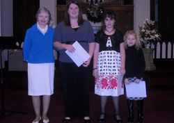 Recital- Jan.31- Becky & girls w/ certificates