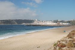 The view of Nazare from the beach near the marina