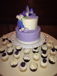 Cupcakes topped with edible violas