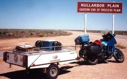 Tom's K75RT & Camper Trailer at the Eastern end of the Nullabor Plain on the way to the 1998 AGM Bunbury - Mar 1998