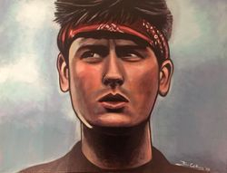 """Charlie Sheen"", ""Chris Taylor"",""actor"", ""Platoon"", ""Vietnam"", ""Oliver Stone"", acrylic on canvas, by Fin Collins, part of The Film Icons Collection www.filmiconsgallery.com"