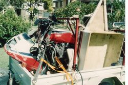 Tom's XJ900 and Trailer smashed up a bit at Tamworth - Dec 1992