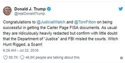 Fitton: Big Victory ? Judicial Watch Forces Disclosure of FISA Warrants Targeting Trump Team
