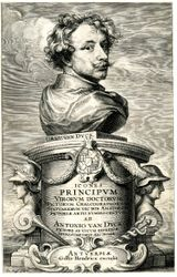 """Van Dyck, Title page to """"Images of Great Men, Scholars, Artists,"""" 1645"""
