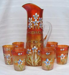 (Enameled) Forget-me-not with prism band 7pc. water set, marigold