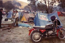 1982 Alpine Rally @ Perkins Flat - Kevin and Robyn Wallace R80ST Eastern Suburbs flag on tent