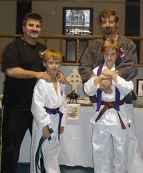 Master Vinnie Howard, Sifu Jeff Goodwin, Sr, Jonathan, & future Sifu Jeffrey Goodwin, Jr 2003