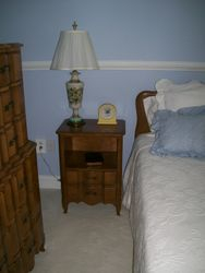 BEDROOM SET, NIGHT STANDS, PAIR OF LAMPS
