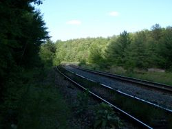 Train tracks next to the property