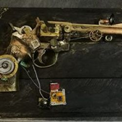 Steampunk themed gun on pallet