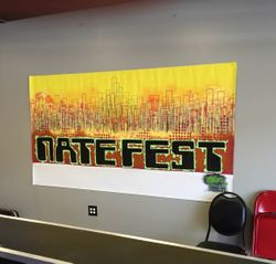 Nate Fest, 5 x 9 feet canvas banner, acrylic paint, 2015 *privately owned* *for Nate Fest benefit concert