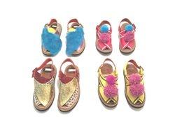 Fur ,Pom Pom, 'and glitter Peshawari sandals