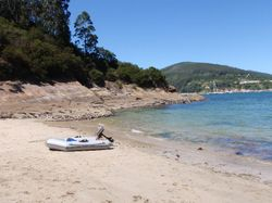 A small beach we took the dinghy to and had to ourselves!