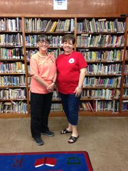 Pictured with Librarian, Tiffany Abshire.