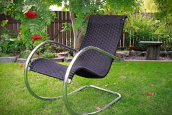 Side / Front View of Black Shaker Tape Rocking Chair