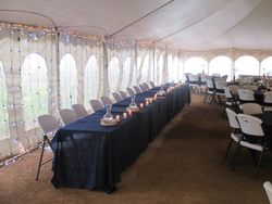 Under the tent where dinner is served