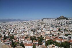 The Acropolis is in the heart of Athens City, so from, there, you can get a 360 degree view of the very large city of Athens
