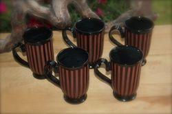 Terra Cotta ~ Black Striped Mug Set