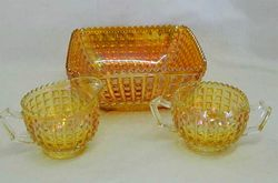 Waffle Block, breakfast set and square bowl, marigold
