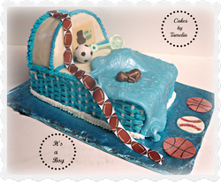 Blue and White Baby Bassinet