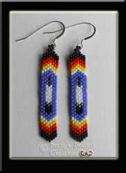 Peyote Flat Panel Earrings with Feather motiff - $45.00