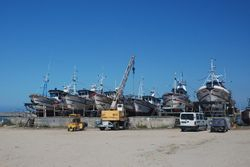 Fishing boats hauled out in Povoa de Varzim