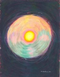 Unperturbed By Chaos Mandala, Oil Pastel, 11x14, Original Sold