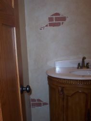 faux brick / cracked plaster
