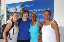Ann, Jan, Annette and Anette's cousin at the airport