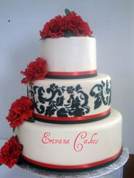 Red and black Damask Wedding Cake (W019)
