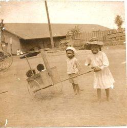 Children playing at the cotton platform