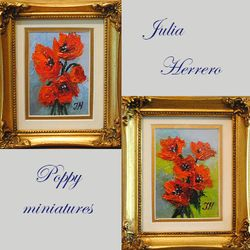 Two poppy miniature paintings