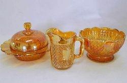 Pineapple, butter, creamer, sugar, pattern no.2349, marigold(sunglow). Sowerby