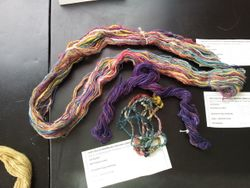 Space dyed tops, then spun and plied