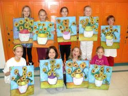 "oil pastel van gogh ""sunflowers"""
