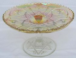 """8"""" wide x 4 ¾"""" tall Star and File cake stand,clambroth"""