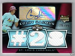 2009 Triple Threads Colby Rasmus Rookie Auto #28 of 99