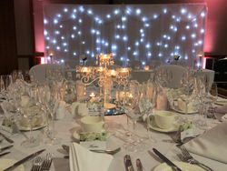 Starlite backdrop hire with mood up lighting