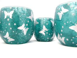 Teal and Silver Butterflies