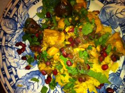 Tagine Chicken with Pomegranite Seeds