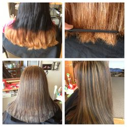 Before and after of Ombre gone wrong.