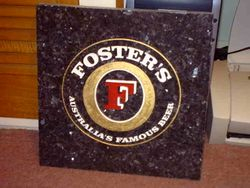 Blue Pearl granite Fosters sign for pub