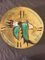 Earth pigment painted eagle drum 10""